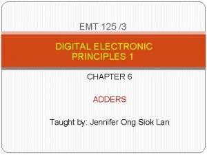 EMT 125 3 DIGITAL ELECTRONIC PRINCIPLES 1 CHAPTER