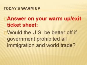 TODAYS WARM UP Answer on your warm upexit