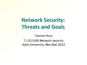 Network Security Threats and Goals Tuomas Aura T110