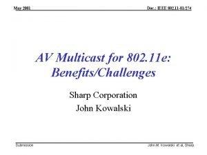 May 2001 Doc IEEE 802 11 01274 AV