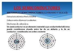 LOS SEMICONDUCTORES MATERIALES SEMICONDUCTORES GERMANIO Y SILICIO Estructura