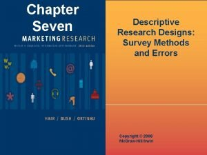 Chapter Seven Descriptive Research Designs Survey Methods and