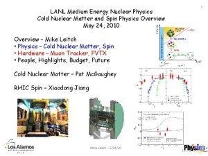 LANL Medium Energy Nuclear Physics Cold Nuclear Matter