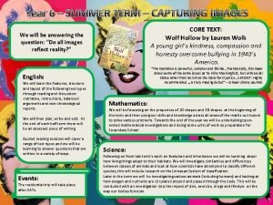 Year 6 SUMMER TERM CAPTURING IMAGES CORE TEXT