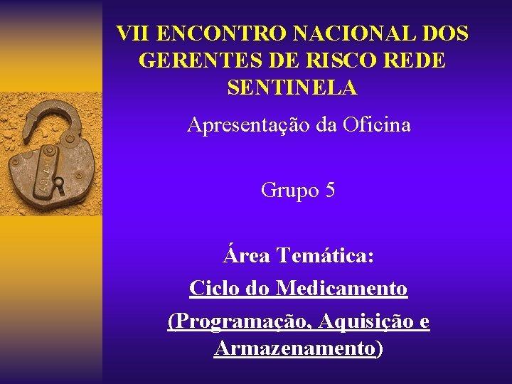 VII ENCONTRO NACIONAL DOS GERENTES DE RISCO REDE