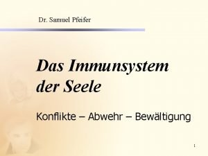 Dr Samuel Pfeifer Das Immunsystem der Seele Konflikte