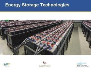 Energy Storage Technologies Energy Storage Applications Utility Grid