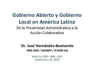 Gobierno Abierto y Gobierno Local en Amrica Latina