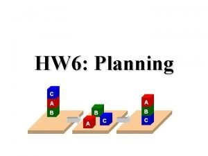 HW 6 Planning PDDL Planning Domain Description Language