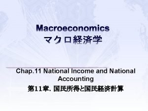 Macroeconomics Chap 11 National Income and National Accounting