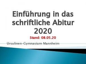 Einfhrung in das schriftliche Abitur 2020 Stand 08