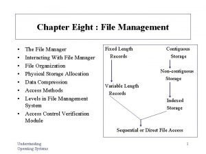 Chapter Eight File Management The File Manager Interacting