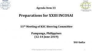 INTOSAI Agenda Item 33 Knowledge Sharing Knowledge Services