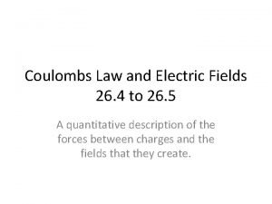Coulombs Law and Electric Fields 26 4 to