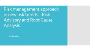Risk management approach in new risk trends Risk