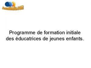 Programme de formation initiale des ducatrices de jeunes
