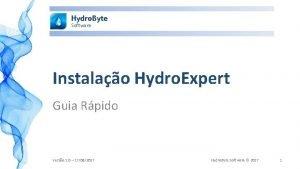 Hydro Byte Software Instalao Hydro Expert Guia Rpido