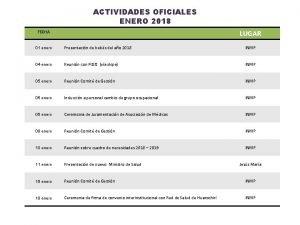 ACTIVIDADES OFICIALES ENERO 2018 LUGAR FECHA 01 enero