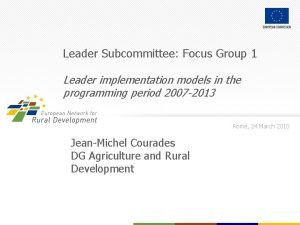 Leader Subcommittee Focus Group 1 Leader implementation models