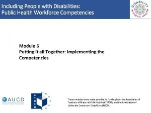 Including People with Disabilities Public Health Workforce Competencies