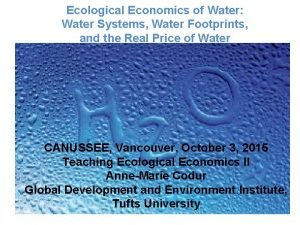 Ecological Economics of Water Water Systems Water Footprints