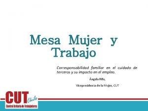 Mesa Mujer y Trabajo Corresponsabilidad familiar en el