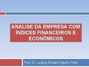 ANALISE DA EMPRESA COM NDICES FINANCEIROS E ECONMICOS