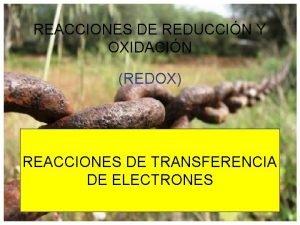 REACCIONES DE REDUCCIN Y OXIDACIN REDOX REACCIONES DE