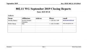 September 2019 doc IEEE 802 11 191394 r
