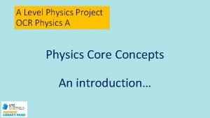 A Level Physics Project OCR Physics A Physics