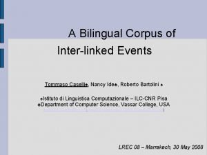 A Bilingual Corpus of Interlinked Events Tommaso Caselli