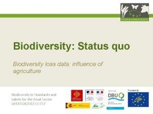 Biodiversity Status quo Biodiversity loss data influence of