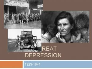 THE GREAT DEPRESSION 1929 1941 Warm Up 1