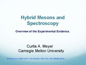Hybrid Mesons and Spectroscopy Overview of the Experimental