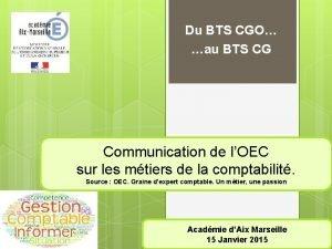 Du BTS CGO au BTS CG Communication de