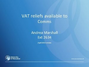 VAT reliefs available to Introduction to VAT in
