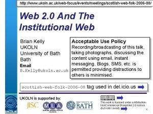 http www ukoln ac ukwebfocuseventsmeetingsscottishwebfolk2006 08 Web 2