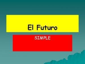 El Futuro SIMPLE Cundo usamos el futuro To