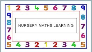 NURSERY MATHS LEARNING COUNTING Counting objects up to
