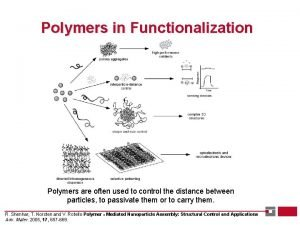 Polymers in Functionalization Polymers are often used to