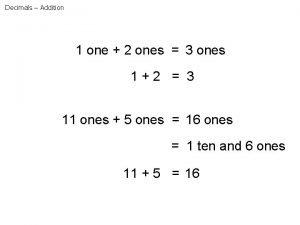 Decimals Addition 1 one 2 ones 3 ones