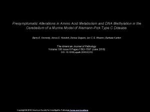 Presymptomatic Alterations in Amino Acid Metabolism and DNA