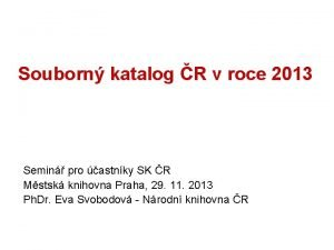 Souborn katalog R v roce 2013 Semin pro