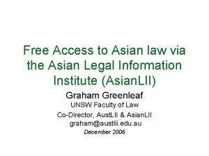 Free Access to Asian law via the Asian