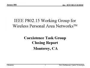 January 2001 doc IEEE 802 15 01049 r