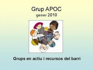 Grup APOC gener 2010 Grups en actiu i