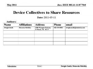 May 2011 doc IEEE 802 11 110779 r