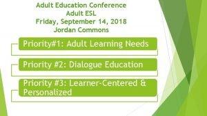 Adult Education Conference Adult ESL Friday September 14