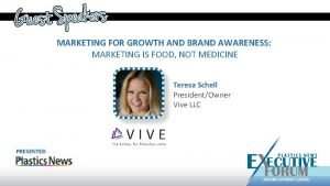 MARKETING FOR GROWTH AND BRAND AWARENESS MARKETING IS