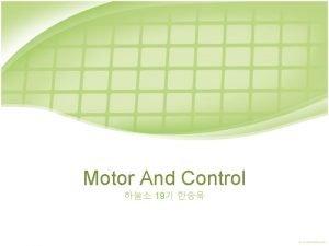 Motor And Control 19 DC MOTOR STEP MOTOR